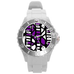 Purple decor Round Plastic Sport Watch (L)