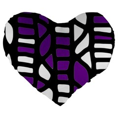 Purple decor Large 19  Premium Flano Heart Shape Cushions