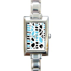 Light blue decor Rectangle Italian Charm Watch