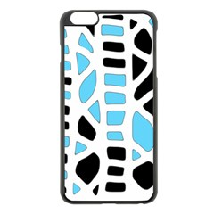 Light blue decor Apple iPhone 6 Plus/6S Plus Black Enamel Case