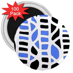 Blue decor 3  Magnets (100 pack)