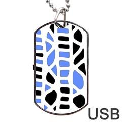 Blue decor Dog Tag USB Flash (Two Sides)