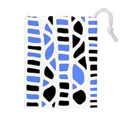 Blue Decor Drawstring Pouches (extra Large)
