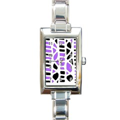 Purple abstract decor Rectangle Italian Charm Watch