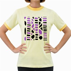 Purple abstract decor Women s Fitted Ringer T-Shirts