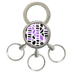 Purple abstract decor 3-Ring Key Chains