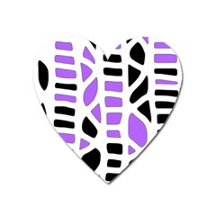 Purple abstract decor Heart Magnet