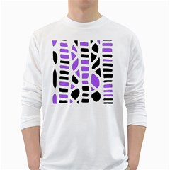 Purple abstract decor White Long Sleeve T-Shirts