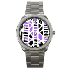 Purple abstract decor Sport Metal Watch