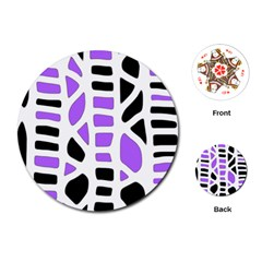 Purple abstract decor Playing Cards (Round)