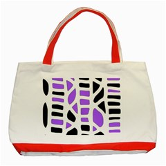 Purple abstract decor Classic Tote Bag (Red)