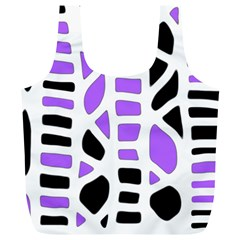 Purple abstract decor Full Print Recycle Bags (L)