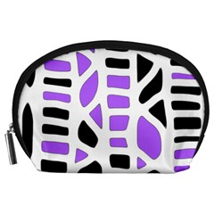 Purple abstract decor Accessory Pouches (Large)