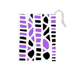 Purple abstract decor Drawstring Pouches (Medium)