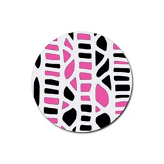 Pink decor Rubber Round Coaster (4 pack)