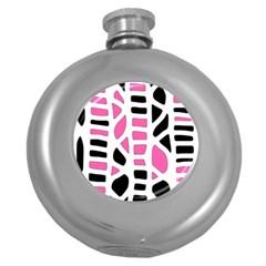 Pink decor Round Hip Flask (5 oz)