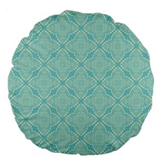 Light Blue Lattice Pattern Large 18  Premium Flano Round Cushions