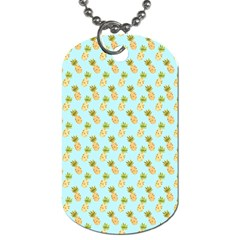 Tropical Watercolour Pineapple Pattern Dog Tag (One Side)