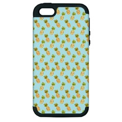 Tropical Watercolour Pineapple Pattern Apple iPhone 5 Hardshell Case (PC+Silicone)