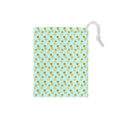 Tropical Watercolour Pineapple Pattern Drawstring Pouches (Small)