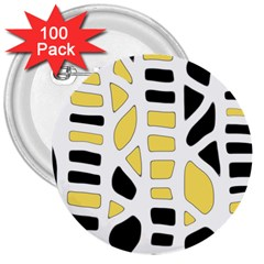 Yellow decor 3  Buttons (100 pack)