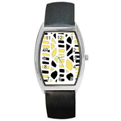 Yellow decor Barrel Style Metal Watch