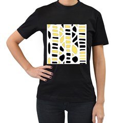 Yellow decor Women s T-Shirt (Black) (Two Sided)