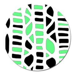 Light green decor Magnet 5  (Round)