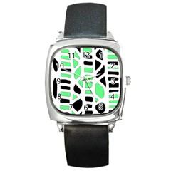 Light green decor Square Metal Watch