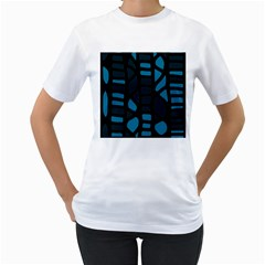 Deep blue decor Women s T-Shirt (White) (Two Sided)