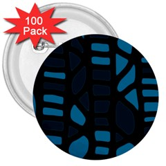 Deep blue decor 3  Buttons (100 pack)