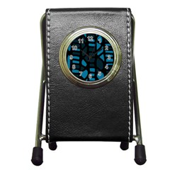Deep blue decor Pen Holder Desk Clocks