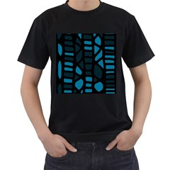 Deep blue decor Men s T-Shirt (Black) (Two Sided)