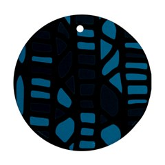 Deep blue decor Round Ornament (Two Sides)