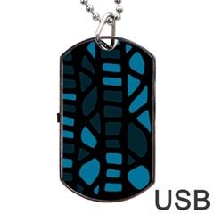 Deep blue decor Dog Tag USB Flash (One Side)