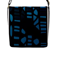 Deep blue decor Flap Messenger Bag (L)