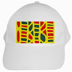 Yellow, green and red decor White Cap