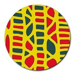 Yellow, green and red decor Round Mousepads