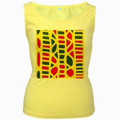 Yellow, green and red decor Women s Yellow Tank Top