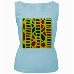 Yellow, green and red decor Women s Baby Blue Tank Top