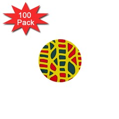 Yellow, green and red decor 1  Mini Buttons (100 pack)
