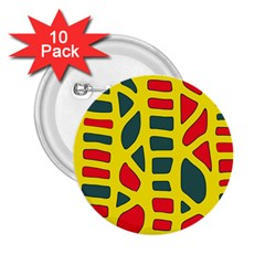Yellow, green and red decor 2.25  Buttons (10 pack)