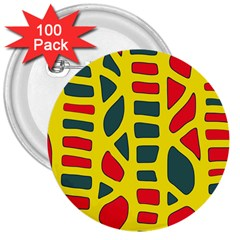 Yellow, green and red decor 3  Buttons (100 pack)