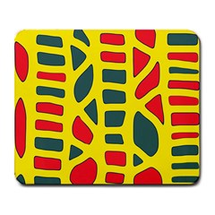 Yellow, green and red decor Large Mousepads