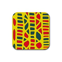 Yellow, green and red decor Rubber Square Coaster (4 pack)