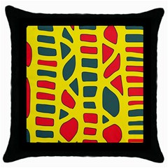 Yellow, green and red decor Throw Pillow Case (Black)