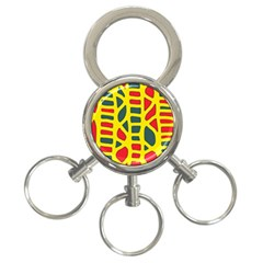 Yellow, green and red decor 3-Ring Key Chains