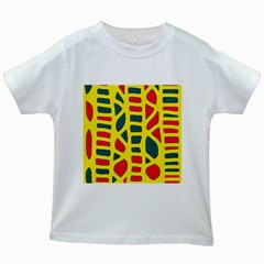 Yellow, green and red decor Kids White T-Shirts