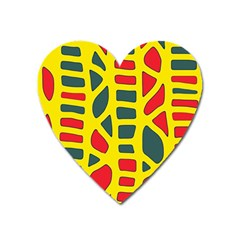 Yellow, green and red decor Heart Magnet