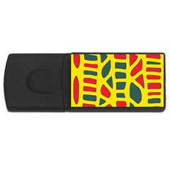 Yellow, green and red decor USB Flash Drive Rectangular (1 GB)